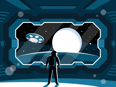 Astronaut stands in a spaceship