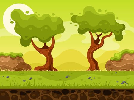 Nature landscape for 2d game Vettoriali