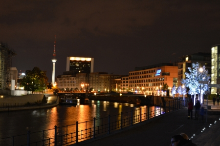 Colourful Berlin Cityscape at Night with TV Tower