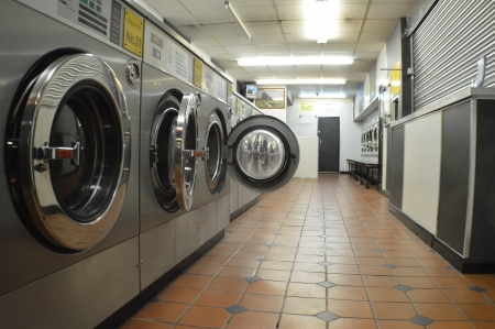 machines: Washing machines in launderette, laundry services