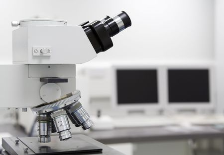 Microscope and computer screen Stock Photo - 387101