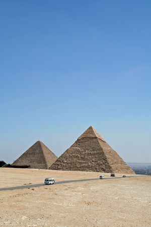 pyramid peak: Great Pyramid at Cairo, Egypt Stock Photo