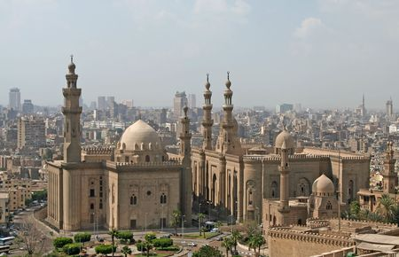 prayer tower: View over Cairo city with Mosque of Sultan Hassan