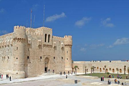 alexandria: Citidel at Alexandria, Egypt Stock Photo