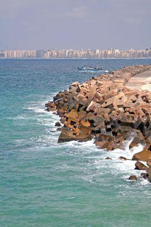 alexandria egypt: Dock at Alexandria, Egypt Stock Photo