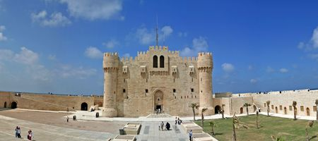 alexandria: Panoramic view of a Citidel at Alexandria, Egypt Stock Photo