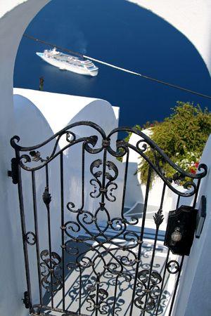Hotel gate at Santorini Island, Greece Stock Photo - 463724