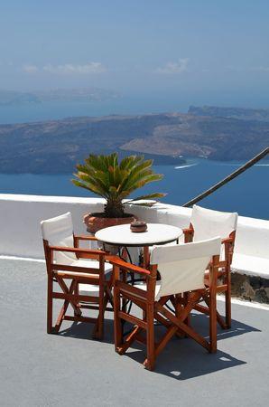 Balcony of a hotel at Santorini Island, Greece Stock Photo
