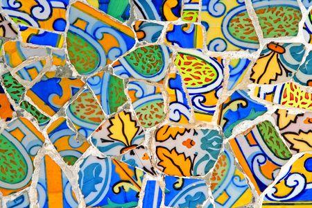 barcelona spain: Mosaic Wall at Barcelona, Spain Stock Photo