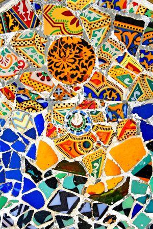 gaudi: Mosaic wall at Barcelona, Spain Stock Photo