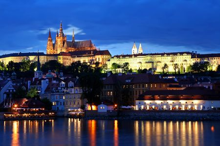 Prague city of Czeh Republic at night photo