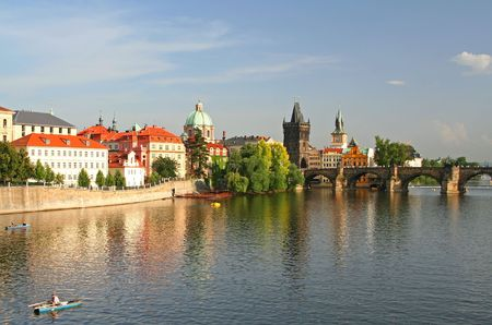 historical reflections: Beautiful old town of Prague, Czech Republic Stock Photo