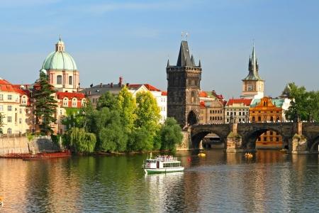 river boat: Old town of Prague, Czech Republic