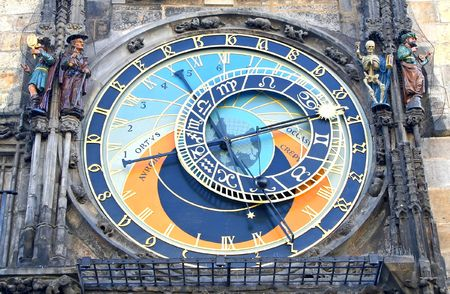 Big clock on the town hall tower at Prague, Czech Stock Photo - 564262