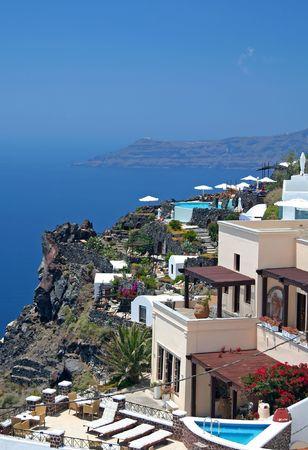 hotels at beautiful island of Santorini, Greece photo