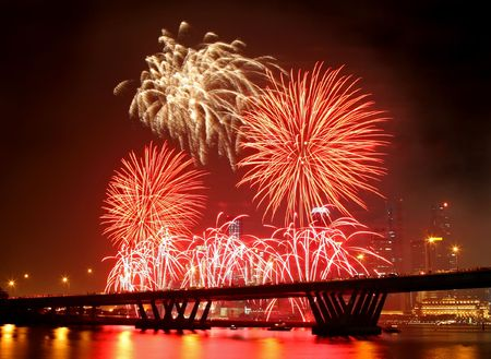 fireworks display: Firework festival at Singapore with the Central Business District as background