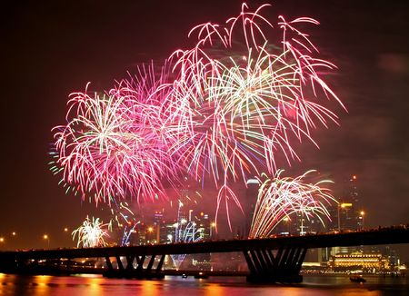 Firework festival at Singapore with the Central Business District as background photo