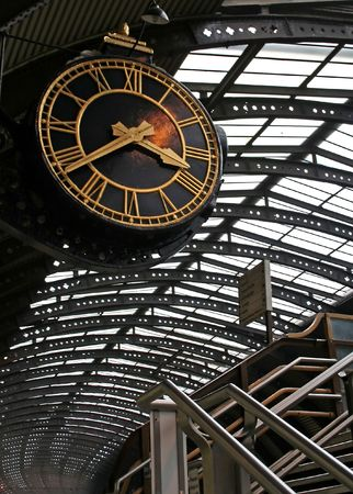 Big clock at York train station, England   photo