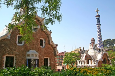 Entrance Pavilions of the Parc Guell, at Barcelona, Spain Stock Photo - 4008578