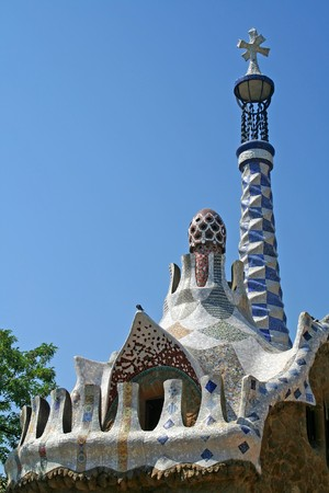 Entrance Pavilions of the Parc Guell, at Barcelona, Spain Stock Photo - 4008576