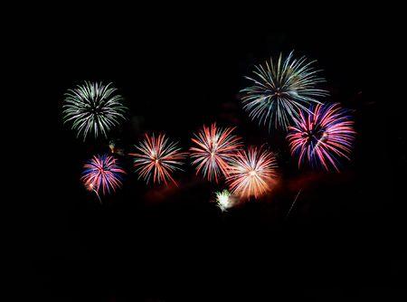blowup: firework display Stock Photo