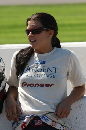 7-30-2005 Danica Patrick at Michigan Speedway relaxing before Qualifying