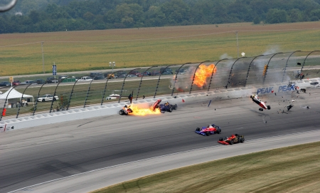9-11-2005 Ryan Briscoe crashes at Chicagoland Editorial