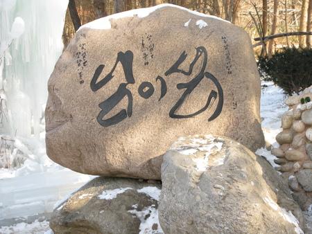 ice dam: South Korea Nami Island winter