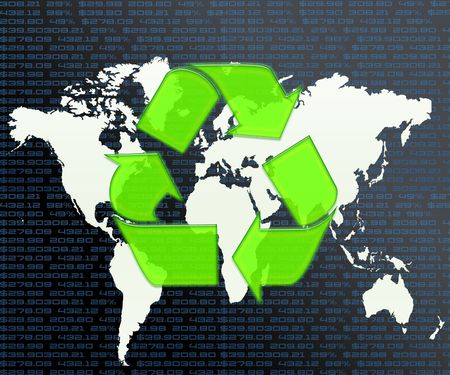 Recycle Logo on World Map Reklamní fotografie - 5222283