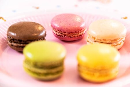 Several French multicolored macarons during a party