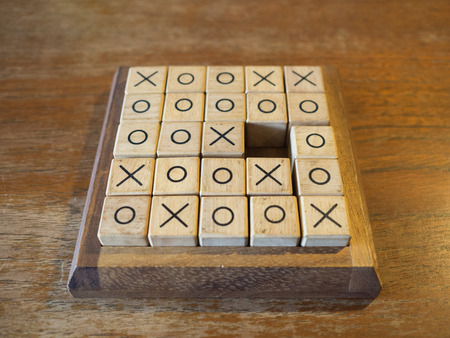 toe: Tic Tac Toe wooden game Stock Photo