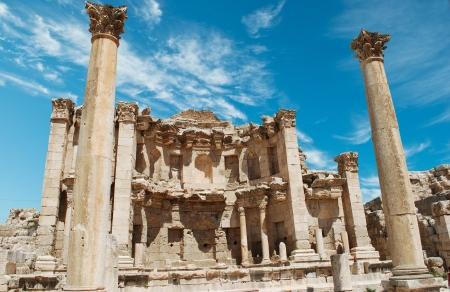 stoneworks: Ancient Jerash. Ruins of the Greco-Roman city of Gera at Jordan  Stock Photo