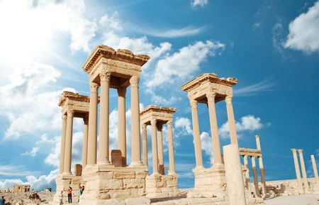 historic site: Ancient Roman time town in Palmyra, Syria.  Editorial