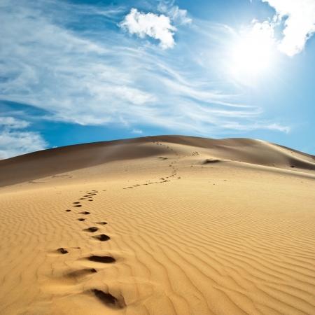 huellas de pies: la arena del desierto
