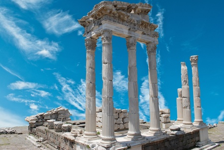 ruins in ancient city of Pergamon, Turkey  photo