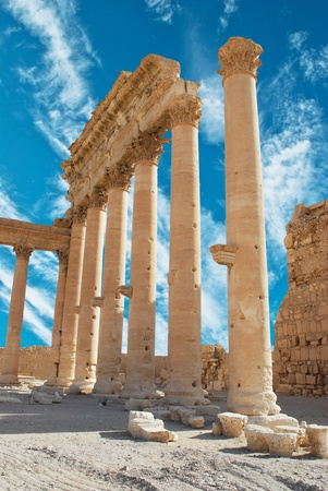 Ancient Roman time town in Palmyra, Syria.  photo