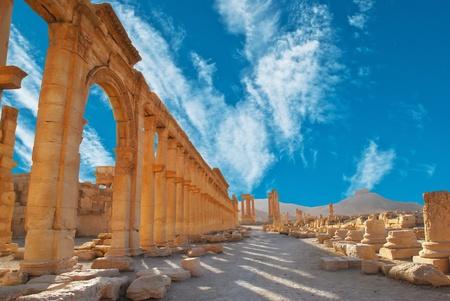 syria: Ancient Roman time town in Palmyra, Syria.  Stock Photo