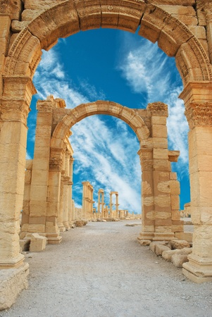 roman pillar: Ancient Roman time town in Palmyra, Syria.  Stock Photo