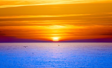 over the sea: Sunset over water