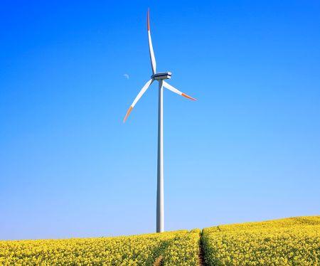 Wind turbine on blue sky Stock Photo - 6067964