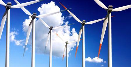 Wind turbines panorama Stock Photo - 6067983