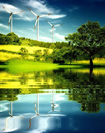 Wind turbines in the mountain. Stock Photo