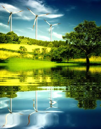 wind energy: Wind turbines in the mountain. Stock Photo