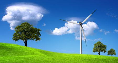 turbina de avion: Recursos energéticos, la turbina eólica y el medio ambiente más limpio  Foto de archivo