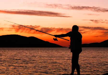 fishing tackle: Fishing at sunset