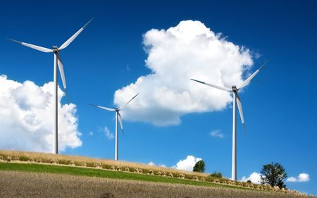 Wind turbines on blue sky Stock Photo - 6209708