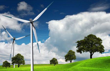 Wind turbine, alternative energy photo