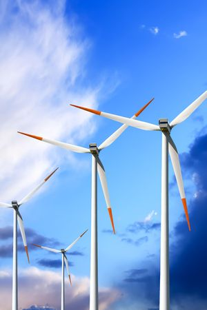 Wind turbines on blue sky Stock Photo - 6571296