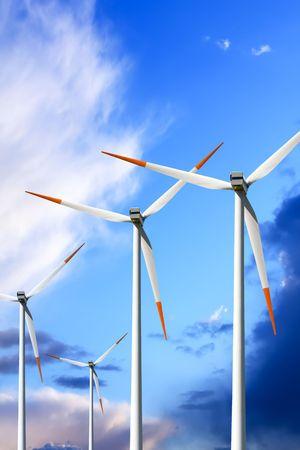 Wind turbines on blue sky Stock Photo - 6571296