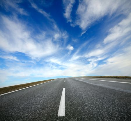 Empty road with blue sky Stock Photo